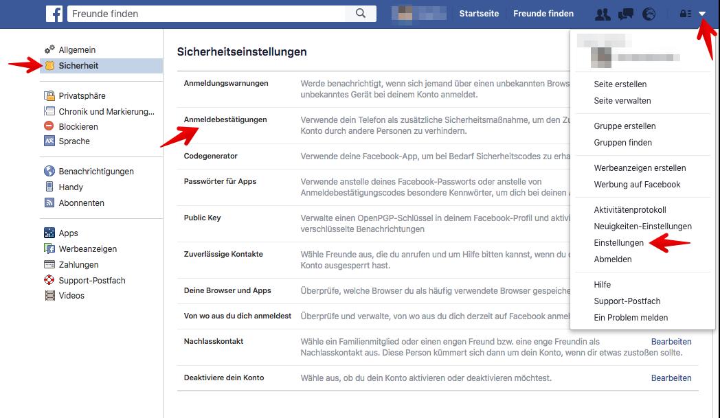 So funktioniert die Zwei-Faktor-Authentifizierung auf Facebook