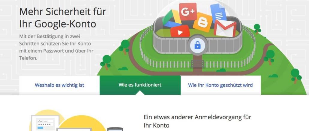 Google Bestätigung in zwei Schritten