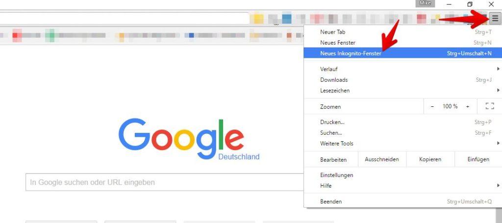 Google: Inkognito-Fenster in Google Chrome öffnen
