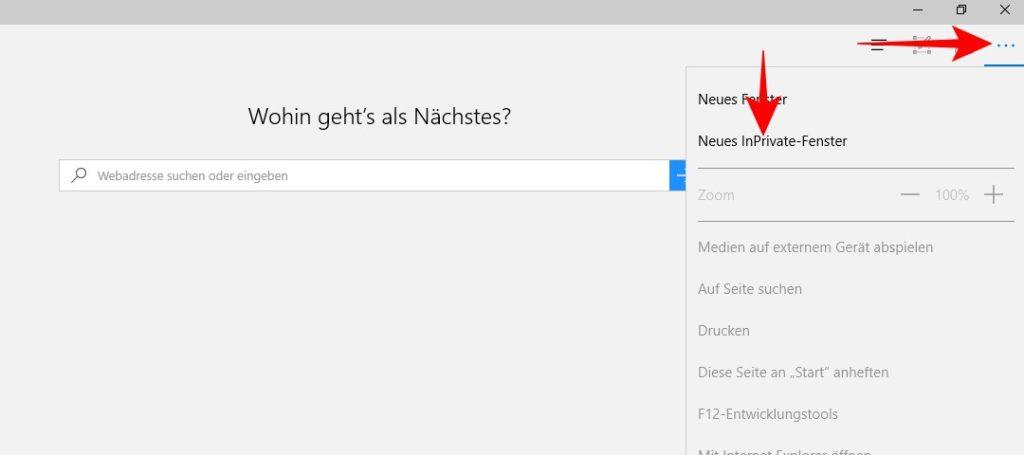 Microsoft Edge: InPrivate-Fenster aktivieren