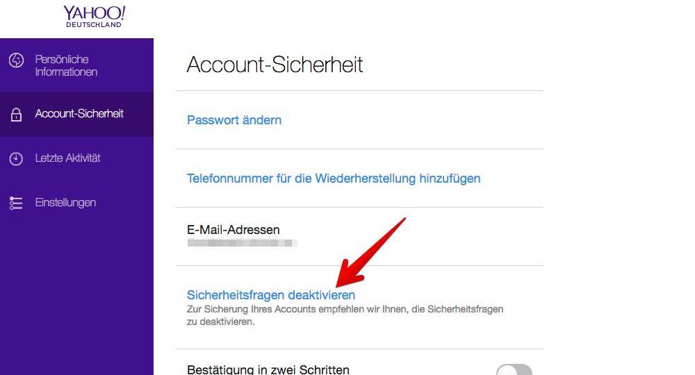 """Klicken Sie auf der Registerkarte """"Account-Sicherheit"""" auf den Link """"Sicherheitsfragen deaktivieren"""". (Quelle: Screenshot)"""