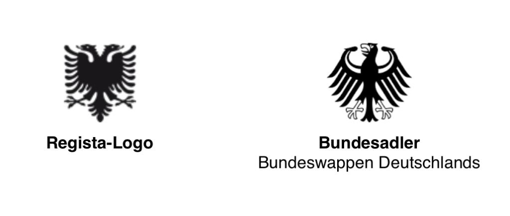 Bundesadler im Vergleich mit dem Regista-Logo