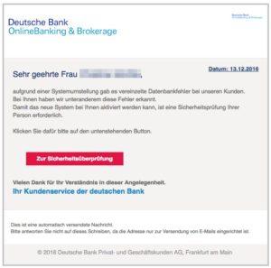 """Vorsicht E-Mail """"Achtung - Kontoprobleme"""" der Deutschen Bank ist Phishing"""