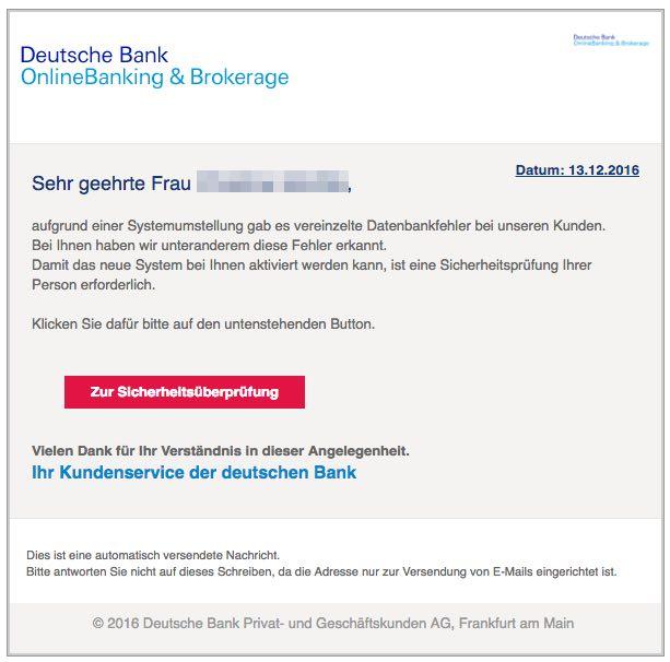 warnung e mails im namen der deutschen bank sind phishing betrug. Black Bedroom Furniture Sets. Home Design Ideas