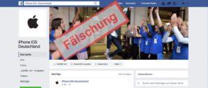 Facebook Seiten von Apple-fake