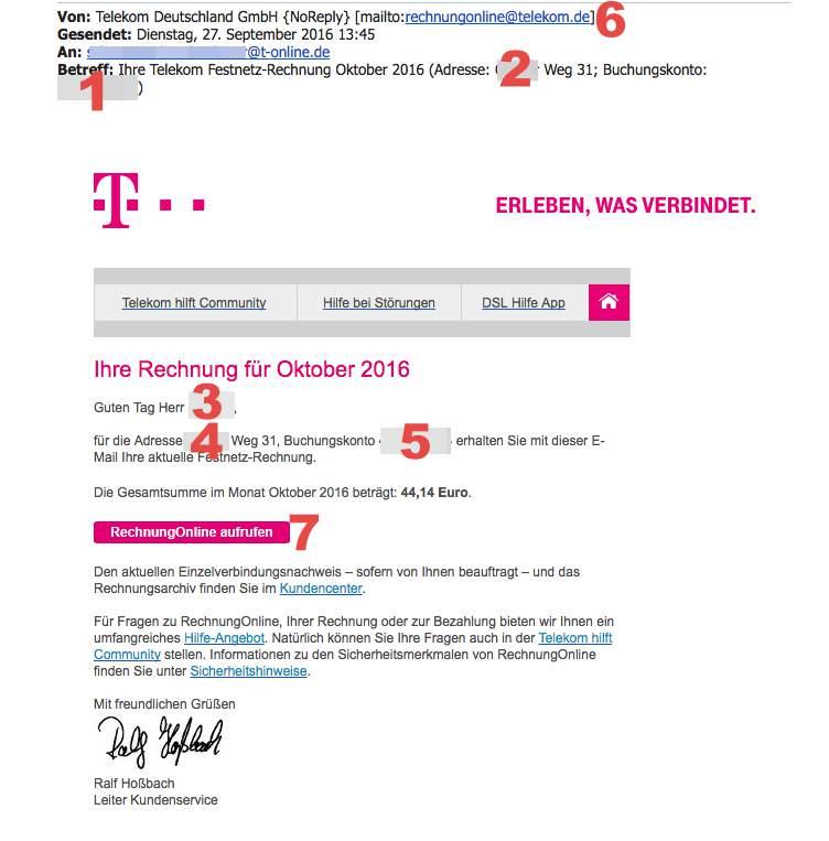Ist die Telekom Rechnung per E-Mail echt?