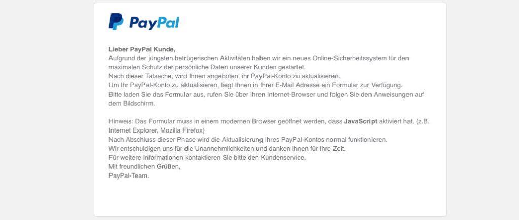 Paypal Fälschung