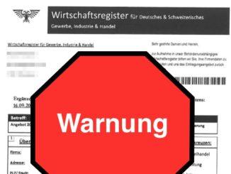 Warnung Wirtschaftsregister Deutschland Schweiz