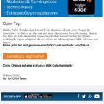 2016-12-31 E-Mail 500 Euro Gutschein Saturn
