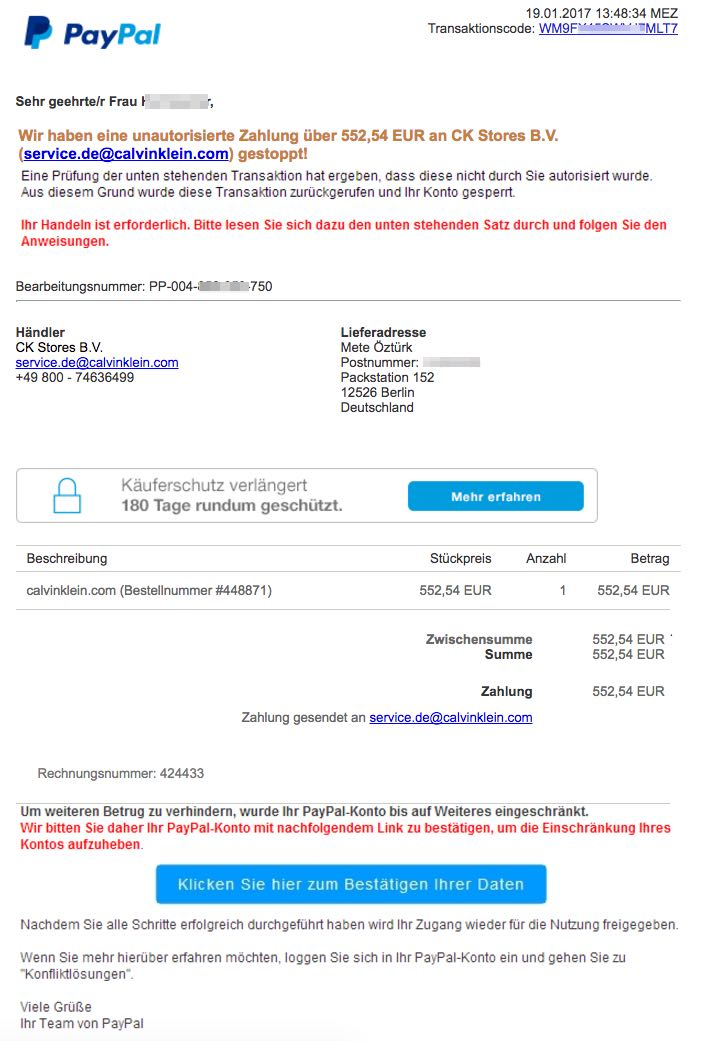 paypal phishing e mail ihr autorisierung an outfittery gmbh. Black Bedroom Furniture Sets. Home Design Ideas