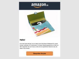 Amazon: E-Mail mit Gutscheinkarte ist eine Täuschung