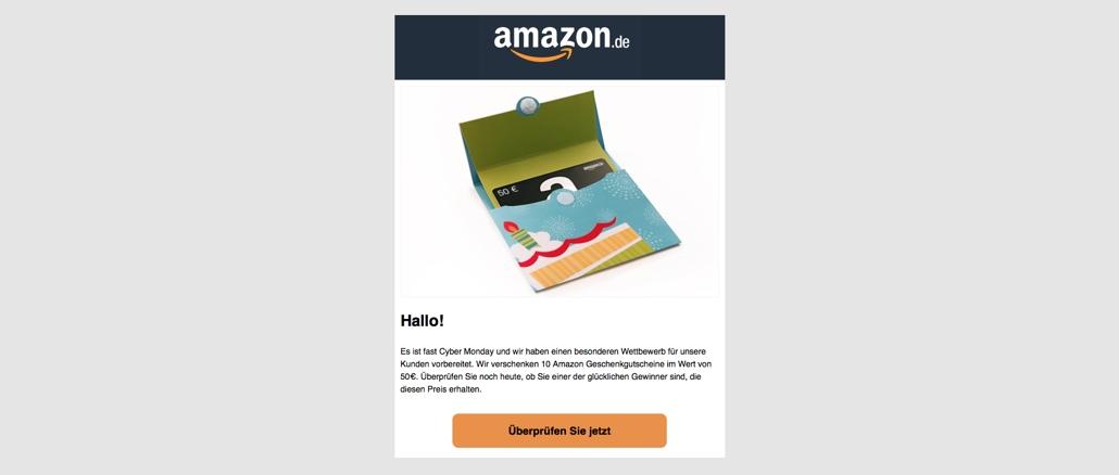 Amazon Gutschein Karte.E Mail Mit Amazon Gutschein Ist Eine Falle Onlinewarnungen De