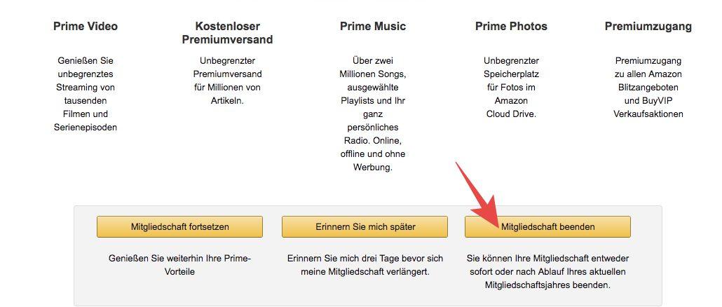 Amazon Prime Kündigung