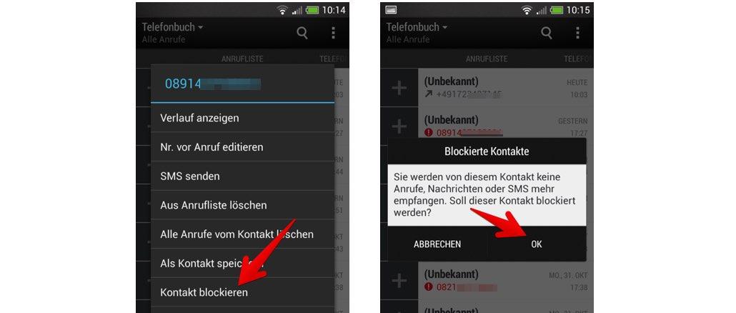 Android Rufnummer blockieren