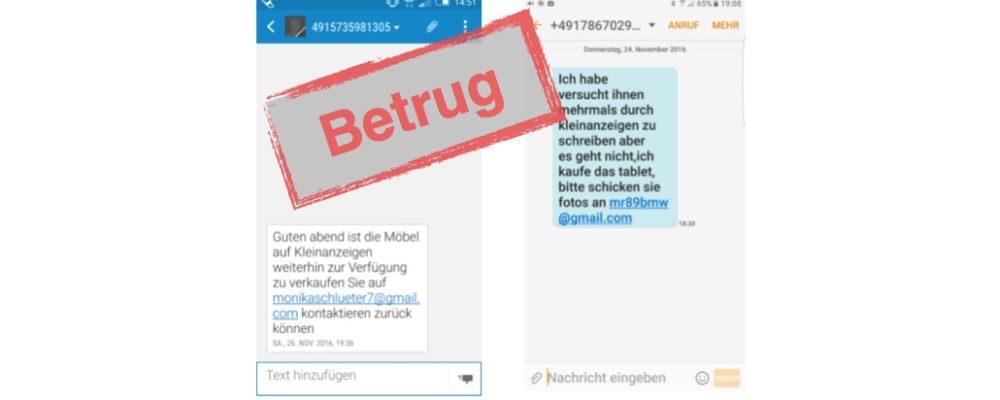 eBay-Kleinanzeigen Betrug: Kontakt per SMS mit E-Mail-Adresse (Update)