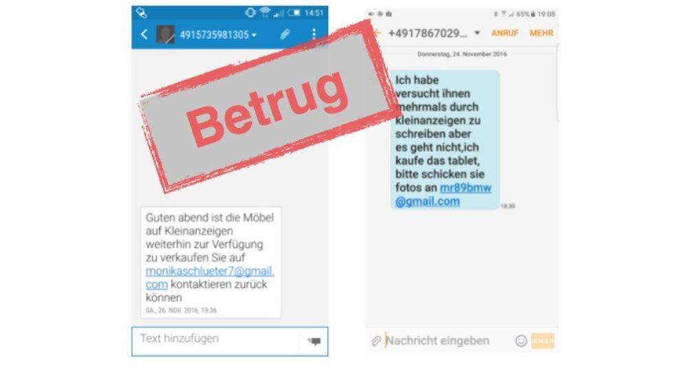 Vorsicht Ebay Kleinanzeigen Sms Mit E Mail Adresse Ist Betrug