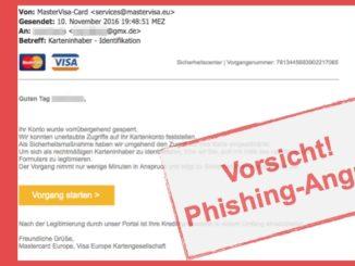 Betrug mit Mastercard und Visacard: Karteninhaber - Identifikaion ist Phishing-Mail