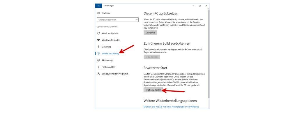 """Unter der Auswahl """"Wiederherstellung"""" finden Sie die Rubrik """"Erweiterter Start"""". Klicken Sie hier auf die Schaltfläche """"Jetzt neu starten"""". Allerdings sollten Sie an dieser Stelle unsere Anleitung auf einem anderen Gerät aufrufen. Ihr Computer schließt nach dem Klick auf die Schaltfläche alle Programme und fährt herunter. (Screenshot Windows 10)"""