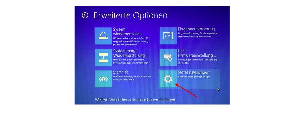 """In diesem Fenster wählen Sie den Eintrag """"Starteinstellungen"""". (Screenshot Windows 10)"""