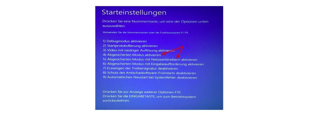 Ihr Computer zeigt während des Bootvorganges die möglichen Startoptionen an. Die Nummerierung der Einträge entspricht den Nummerntasten zur Auswahl der Option. Drücken Sie also die Nummerntaste 4, um den abgesicherten Modus zu starten. Dieses Fenster wird Ihnen allerdings nur bei deaktivierter F8-Taste angezeigt. (Screenshot Windows 10)