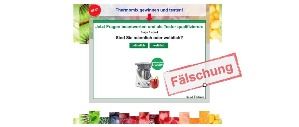 """E-Mail """"Jetzt Thermomix Produkttester werden"""" ist Betrug"""