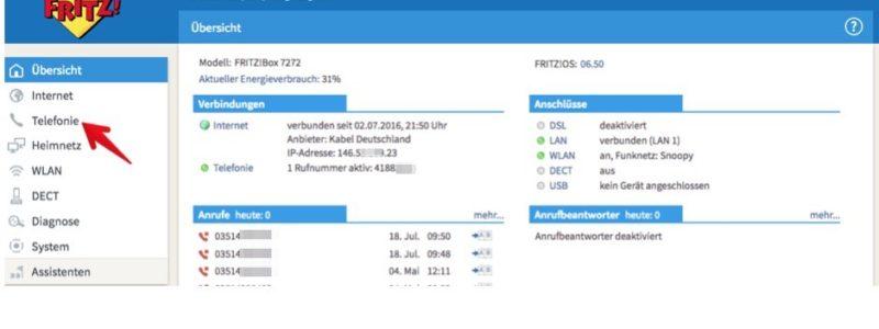 """1. Melden Sie sich in der Benutzeroberfläche der Fritz!Box an und klicken Sie auf der Startseite im linken Seitenmenü auf """"Telefonie"""". (Screenshot)"""