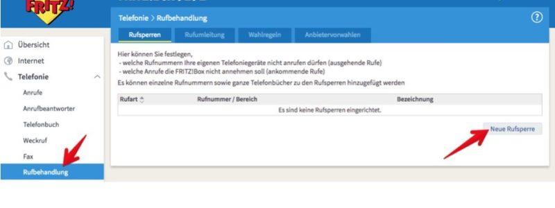 """2. Klicken Sie unter Telefonie auf """"Rufbehandlung"""". Auf der rechten Seite klicken Sie jetzt auf """"Neue Rufsperre"""", um eine neue Rufnummer zu blockieren. (Screenshot)"""