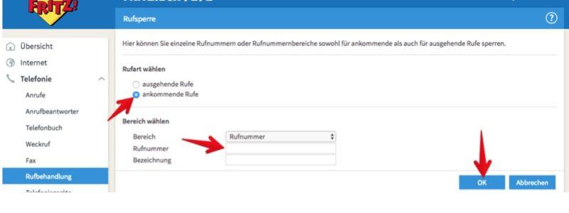 """3. Unter """"Rufart auswählen"""" setzen Sie den Punkt vor """"ankommende Anrufe"""". Anschließend geben Sie die zu sperrende Rufnummer ein und klicken abschließend auf """"OK"""". (Screenshot)"""