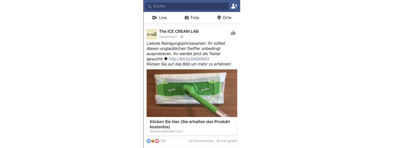 Facebook Werbung fuer Swiffer Aktion