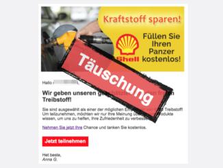 Fake E-Mail mit Shell-Gewinnspiel 500 Euro Gutschein