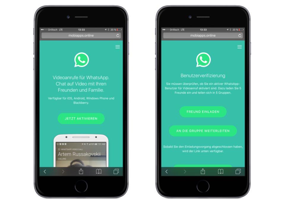 Gefälschte Webseite von WhatsApp