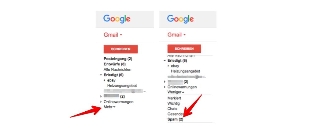 Gmail Spam Ordner aufrufen