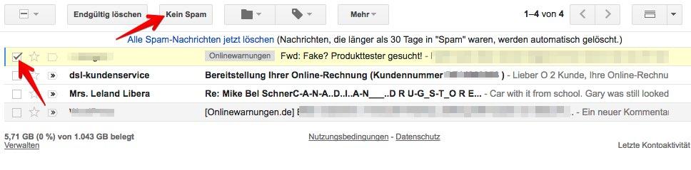 Gmail Spam Zuordnung aufheben