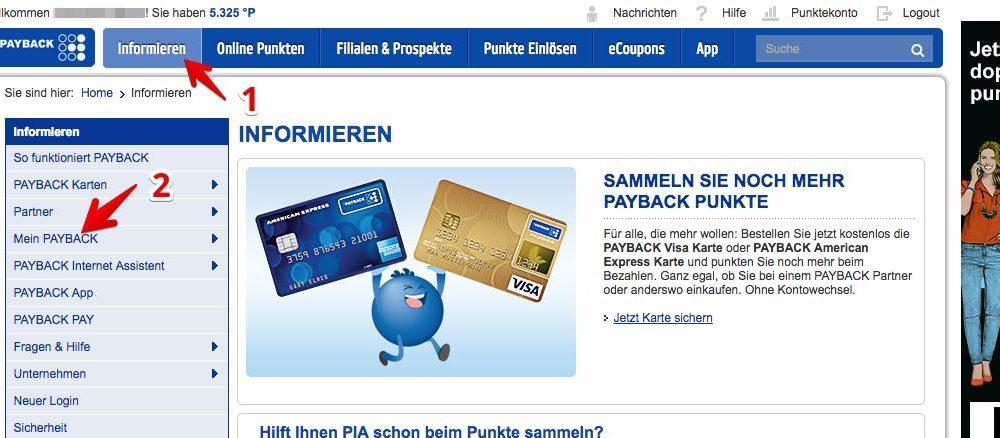 """1. Melden Sie sich auf der Payback-Webseite mit Ihren Zugangsdaten an. Klicken Sie im oberen Menü auf """"Informieren"""" (1) und danach im linken Seitenmenü auf """"Mein PAYBACK"""" (2). (Quelle: Screenshot/payback.de)"""