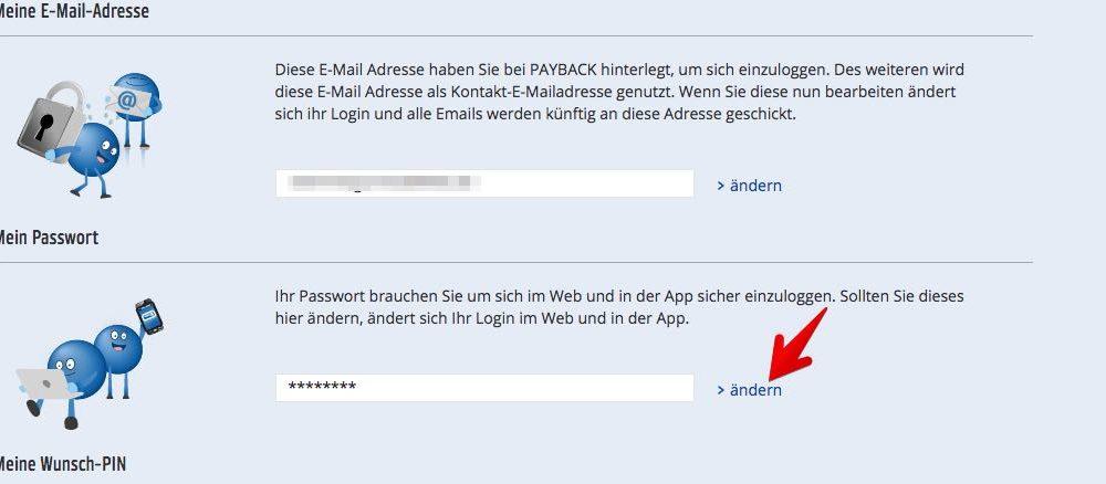 """3. Jetzt haben Sie die Wahl, ob Sie Ihr Kennwort oder den PIN ändern möchten. Klicken Sie auf """"> ändern"""" hinter dem jeweils angezeigten Feld. (Quelle: Screenshot/payback.de)"""