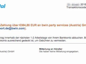 Paypal: Bestätigung Ihrer Zahlung an bwin.party services (Austria) GmbH