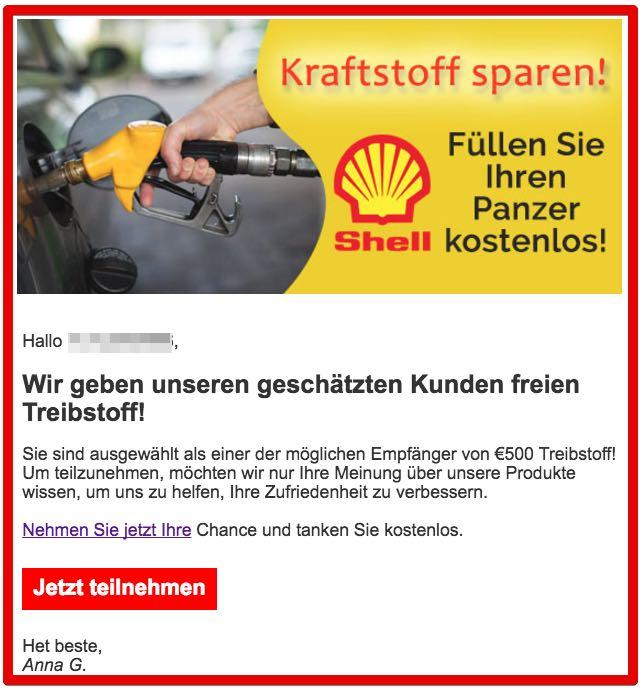 Shell Gewinnspiel Fake 500 Euro Treibstoff Gutschein