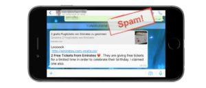 WhatsApp: Loooook 2 Free Tickets from Emirates ist Spam