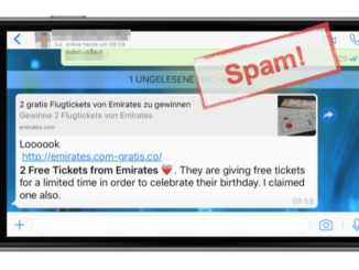 WhatsApp: Loooook 2 Free Tickets from Emirates ist Spam