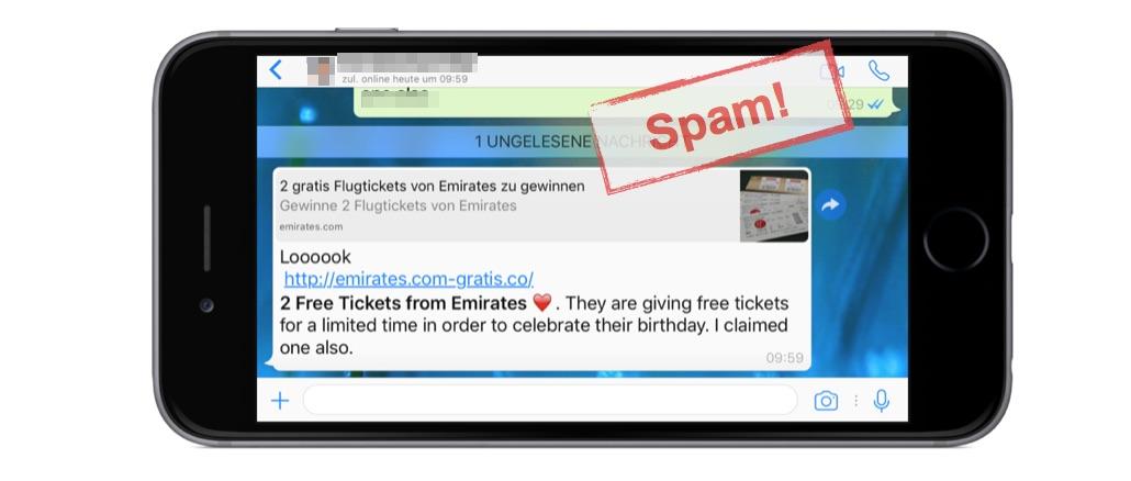 WhatsApp Spam: Vorsicht vor Kettenbrief mit Gewinnspiel für Flugtickets
