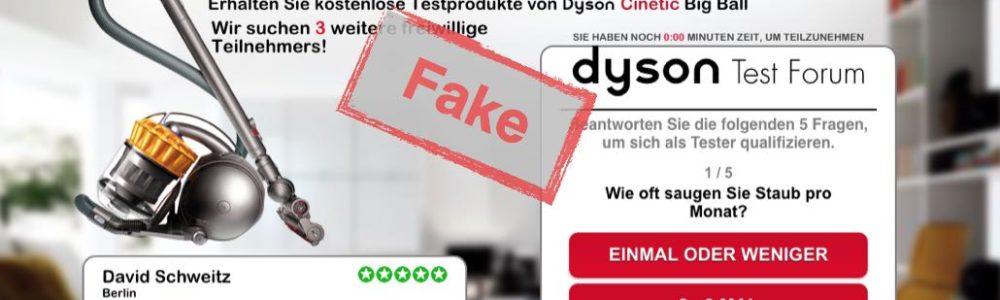 """Fälschung: """"Deutsche Produkttester gesucht für das neue Dyson-Modell"""" ist Betrug"""