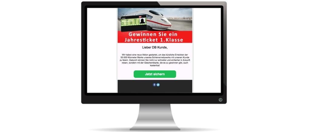 Gewinnspiel E-Mail der Deutschen Bahn ist Fake