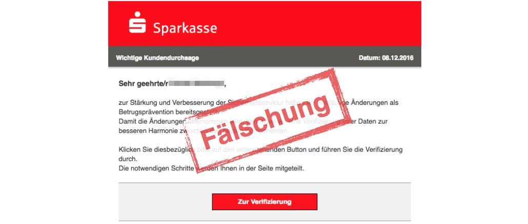 Phishing E-Mail Sparkasse Wichtige Kundendurchsage