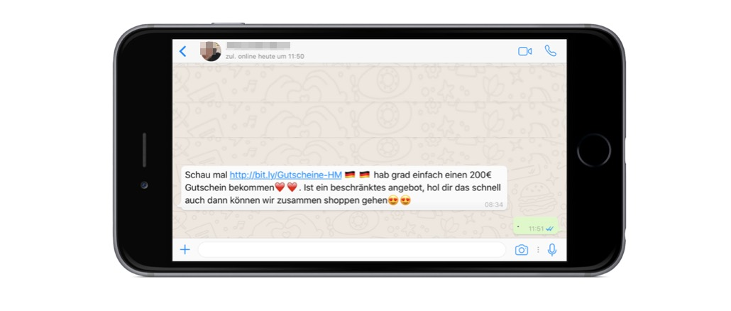WhatsApp Kettenbrief HM Gutschein