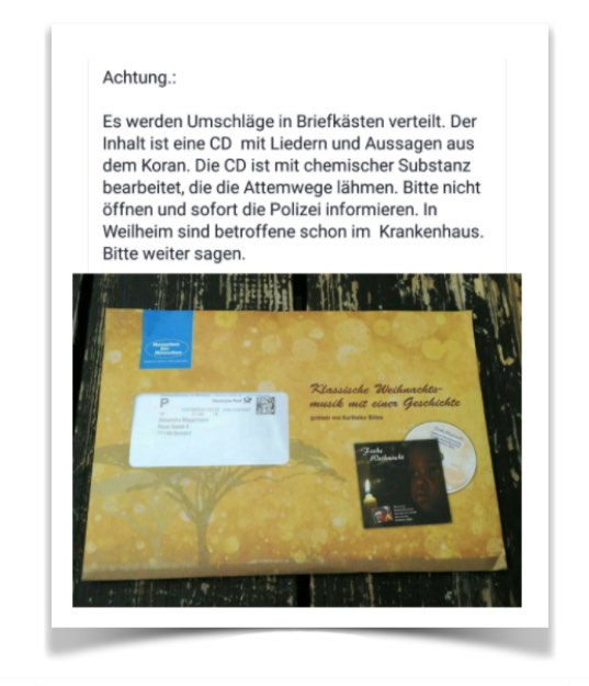 WhatsApp Kettenbrief vergiftete CD Briefumschlag