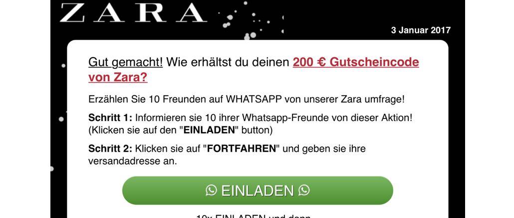 200 Euro Zara Gutschein teilen