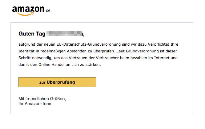 Amazon mail code bestätigung identität