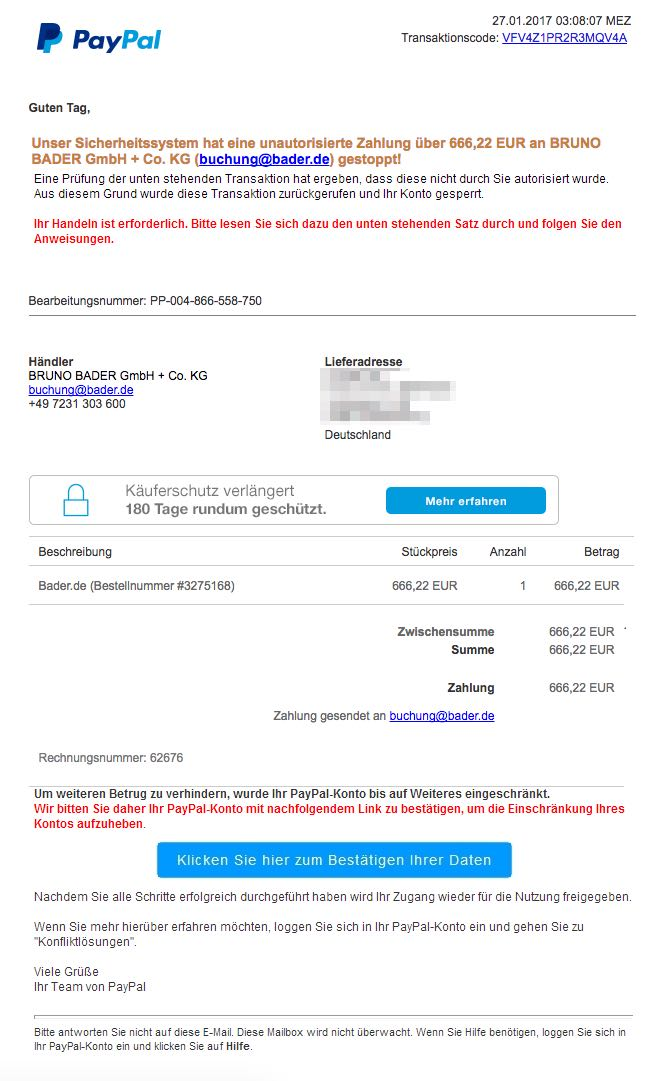 Paypal Phishing: E-Mail \