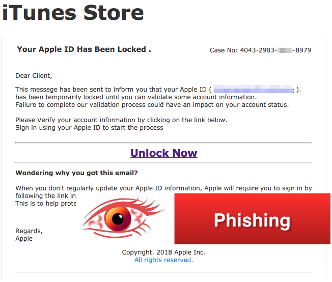 2018-03-19 Apple iTunes Spam Mail Your Account Has Been Locked