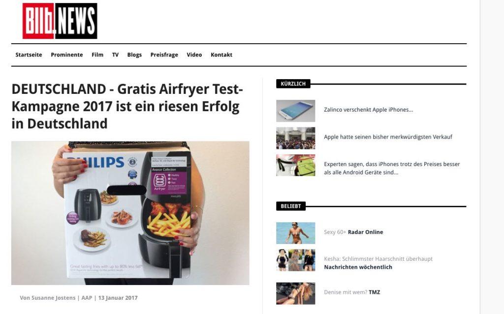 DEUTSCHLAND - Gratis Airfryer Test-Kampagne 2017 ist ein riesen Erfolg in Deutschland ist ein Fake